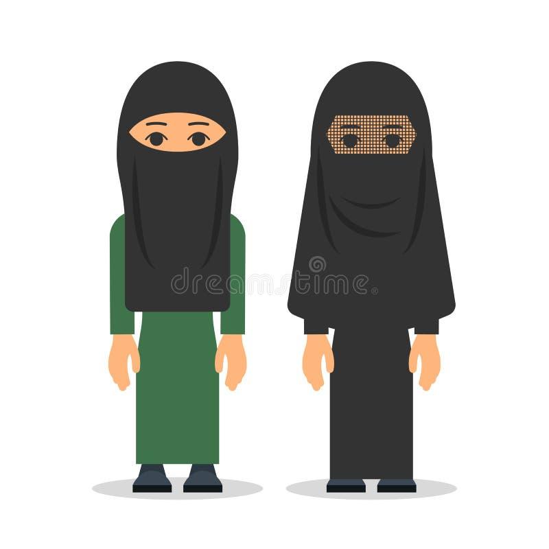 Muzułmańska kobieta lub arab kobieta w hijab Kobiety stoją w traditio royalty ilustracja