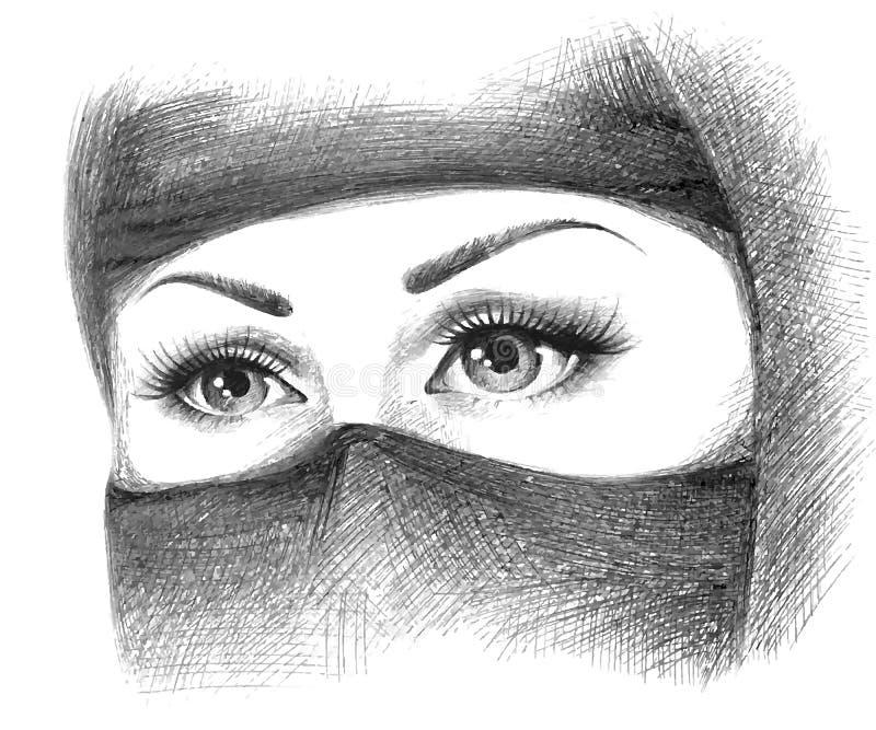 Muzułmańska kobieta w hijab royalty ilustracja