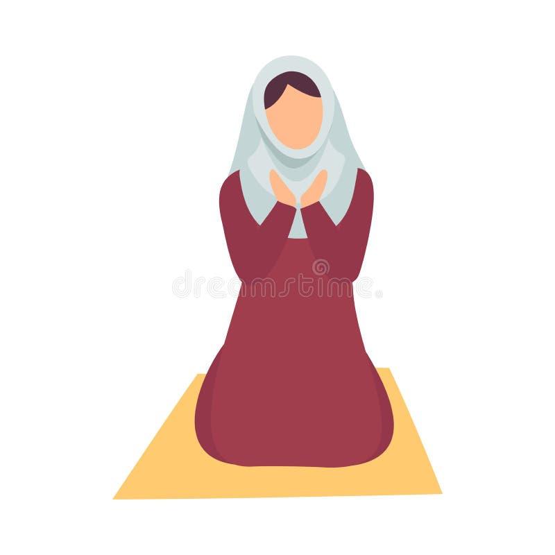 Muzułmańska kobieta w Hijab modleniu na Jej kolanach, Eid Al Adha Muzułmańska Święta Islamska Wakacyjna Wektorowa ilustracja royalty ilustracja