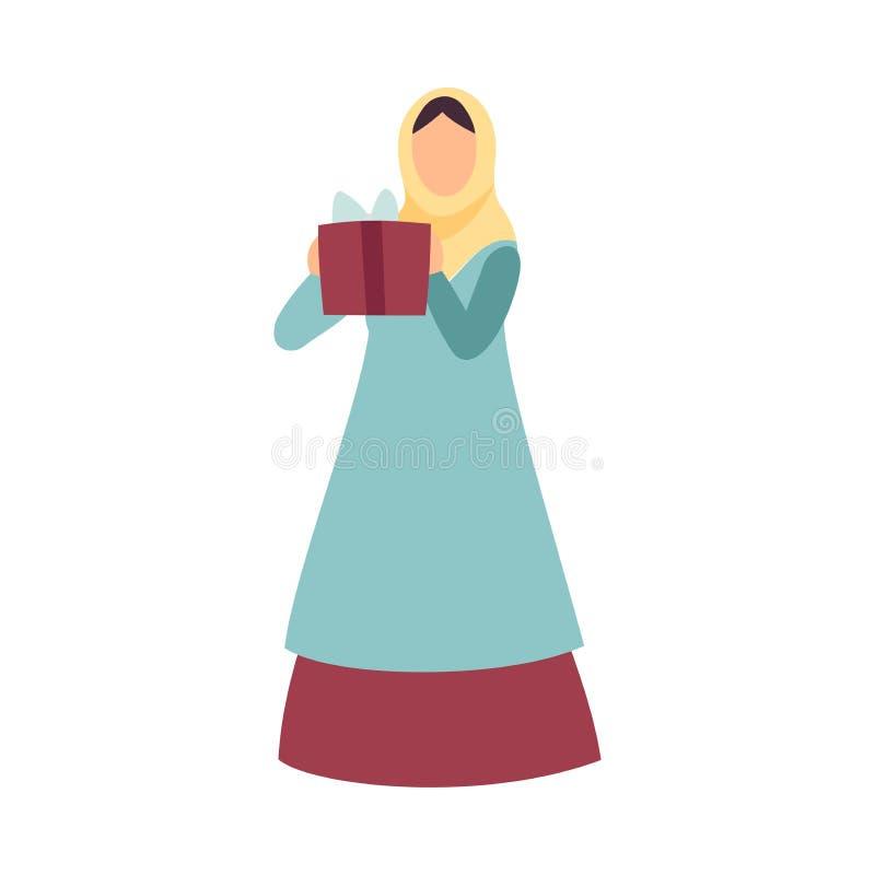 Muzułmańska kobieta w Tradycyjnych Odzieżowych mienie prezenta pudełkach Eid Al Adha świętowania Islamski Wakacyjny wektor przy o ilustracja wektor