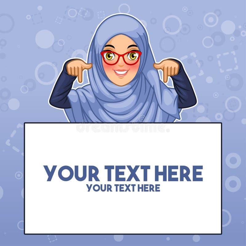 Muzułmańska kobieta wskazuje palca puszek przy kopii przestrzenią