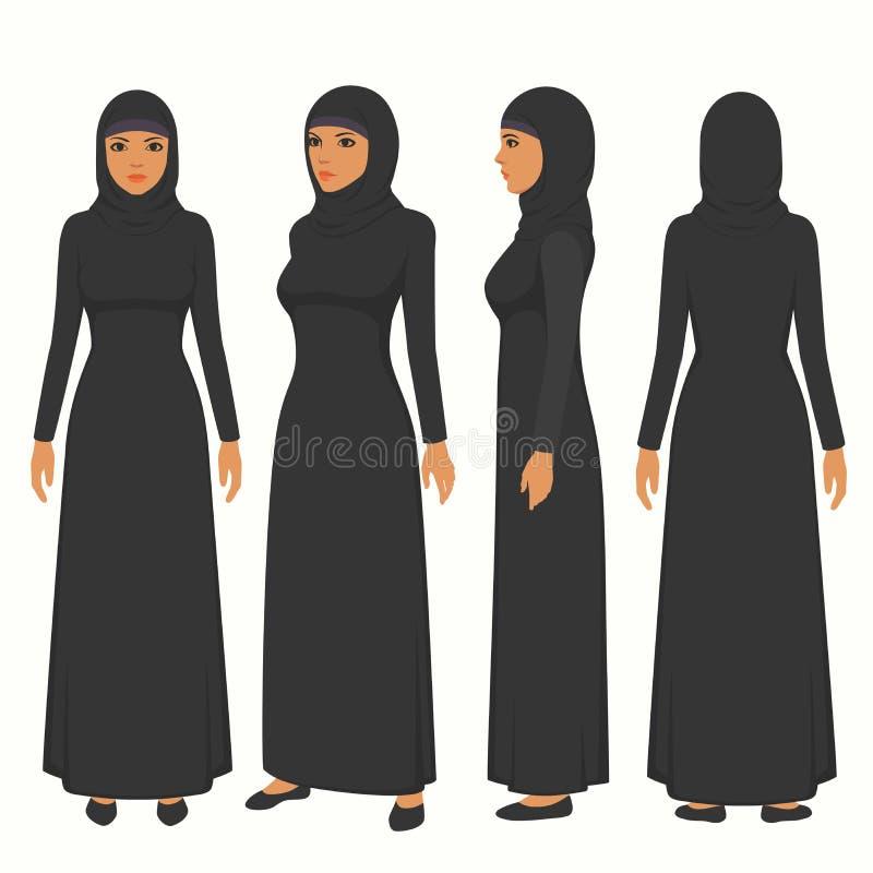 muzułmańska kobiety ilustracja, wektorowy arabski dziewczyna charakter, saudyjska kreskówki kobieta, przód, strona i tylny widok, ilustracji