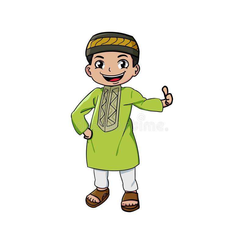 Muzułmańska maskotki i tło kciuka poza ilustracji