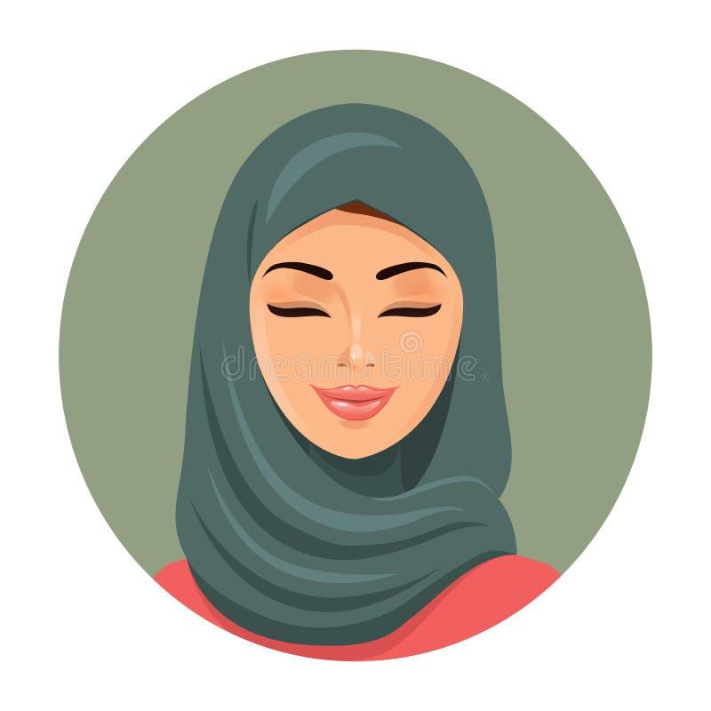 Muzułmańska mody kobieta zamyka ona oczy Arabski kobiety ikony portret w hijab Azjatycki muzułmański tradycyjny hijab również zwr royalty ilustracja