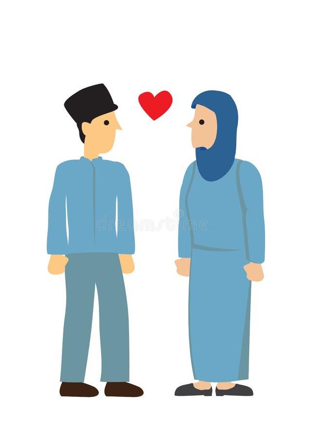 Muzułmańska para patrzeje each inny z miłością Poj?cie mi?o?? i romans ilustracji