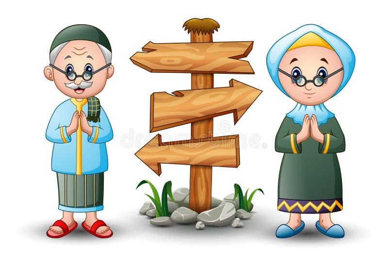 Muzułmańska pary powitania kreskówka z pustym drewnianym strzała znakiem royalty ilustracja