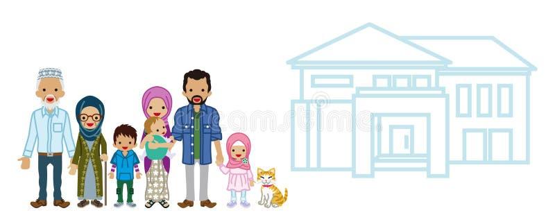 Muzułmańska pokolenie rodzina z siedzibą ilustracja wektor