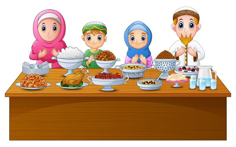 Muzułmańska rodzina ono modli się wpólnie przed przerwy zamocowaniem royalty ilustracja