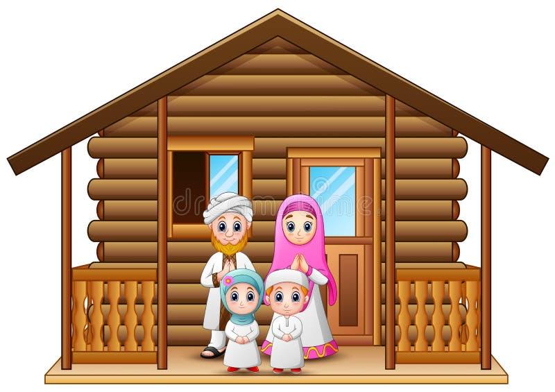 Muzułmańska rodziny kreskówka w drewnianym domu ilustracja wektor