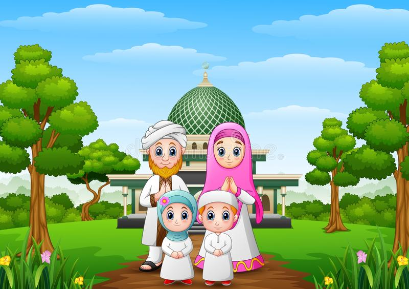 Muzułmańska rodziny kreskówka z meczetem w lesie royalty ilustracja
