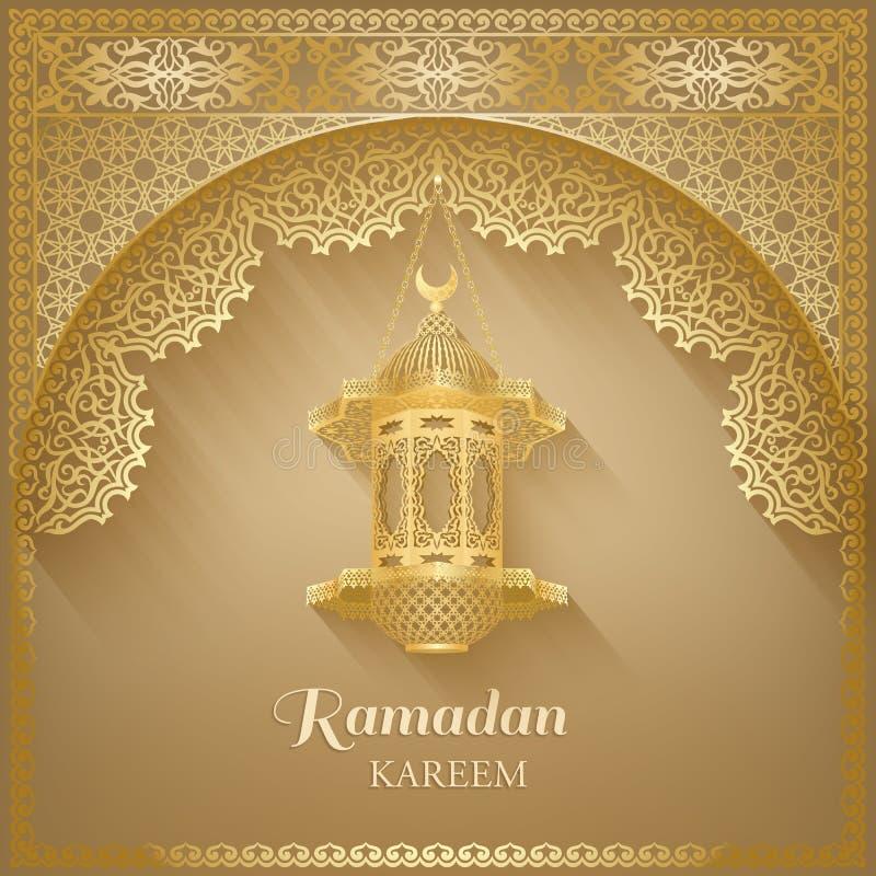 Muzułmańska społeczność festiwalu karta z lampą ilustracji