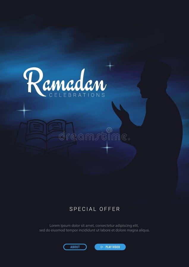 Muzułmańska uczta święty miesiąc Ramadan Kareem Wektorowa ilustracja na ciemnym tle ilustracja wektor