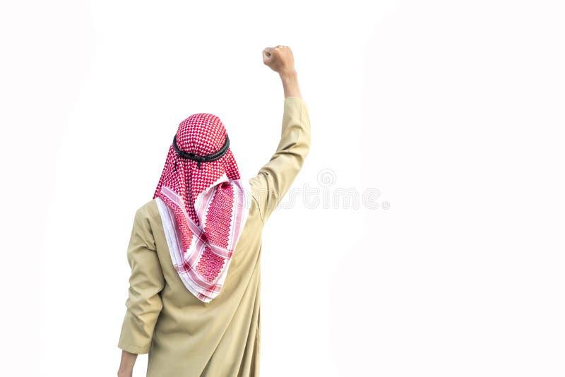 Muzułmański biznesmen jest szczęśliwy obraz stock