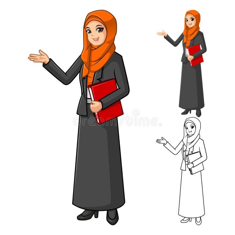 Muzułmański bizneswoman Jest ubranym Pomarańczową przesłonę lub szalika z Witać ręki ilustracja wektor