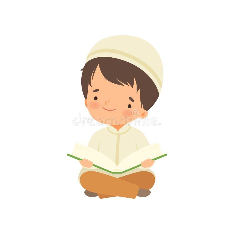 Muzułmański Boy Boy Boy Boy, uklękając modlitwę i czytując ilustrację z Quran Cartoon Vector ilustracja wektor
