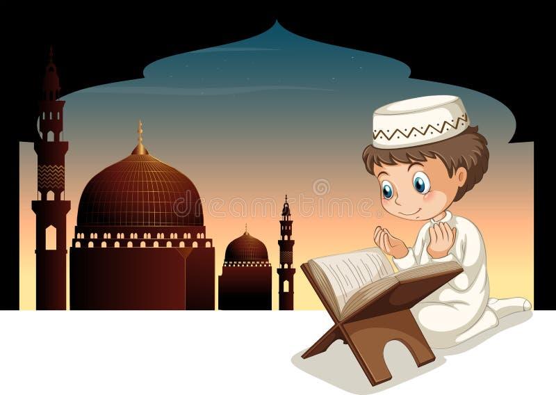Muzułmański chłopiec modlenie z meczetowym tłem royalty ilustracja