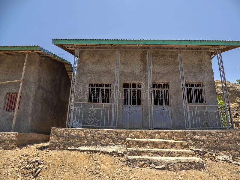 Muzułmański dom liczba żony jest równy liczba drzwi, Amhara prowincja, Etiopia fotografia royalty free