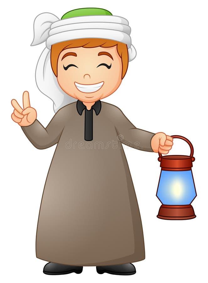 Muzułmański dzieciak daje dwa palcowi z mienie lampionem ilustracja wektor