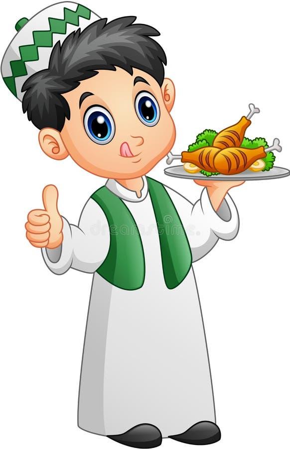 Muzułmański dzieciak trzyma półmisek kurczaka mięso i daje kciukowi up royalty ilustracja