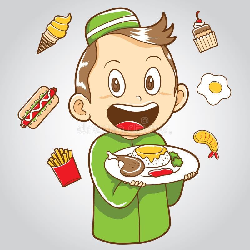 Muzułmański dzieciak z szybkim żarciem i zdrowym jedzeniem ilustracji