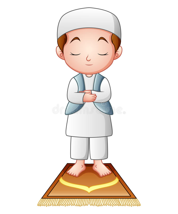 Muzułmański dzieciaka modlenie odizolowywający na białym tle ilustracja wektor