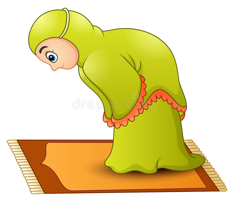 Muzułmański dziewczyny kreskówki modlenie ilustracja wektor