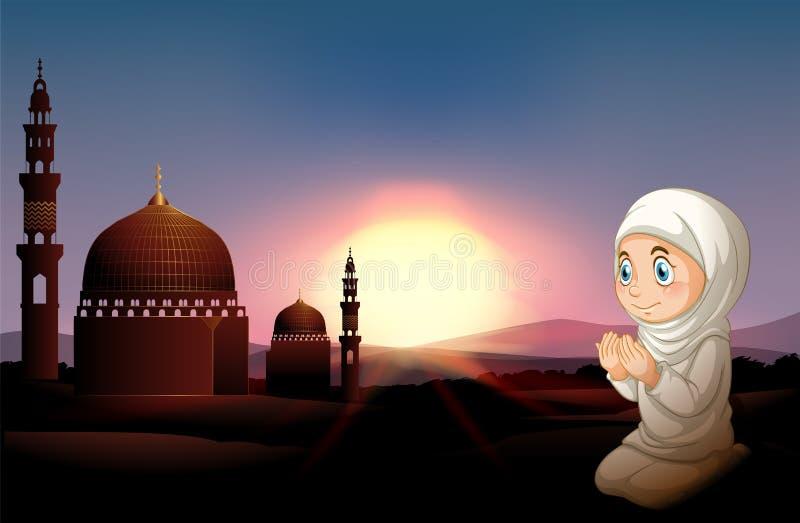 Muzułmański dziewczyny modlenie przy meczetem royalty ilustracja