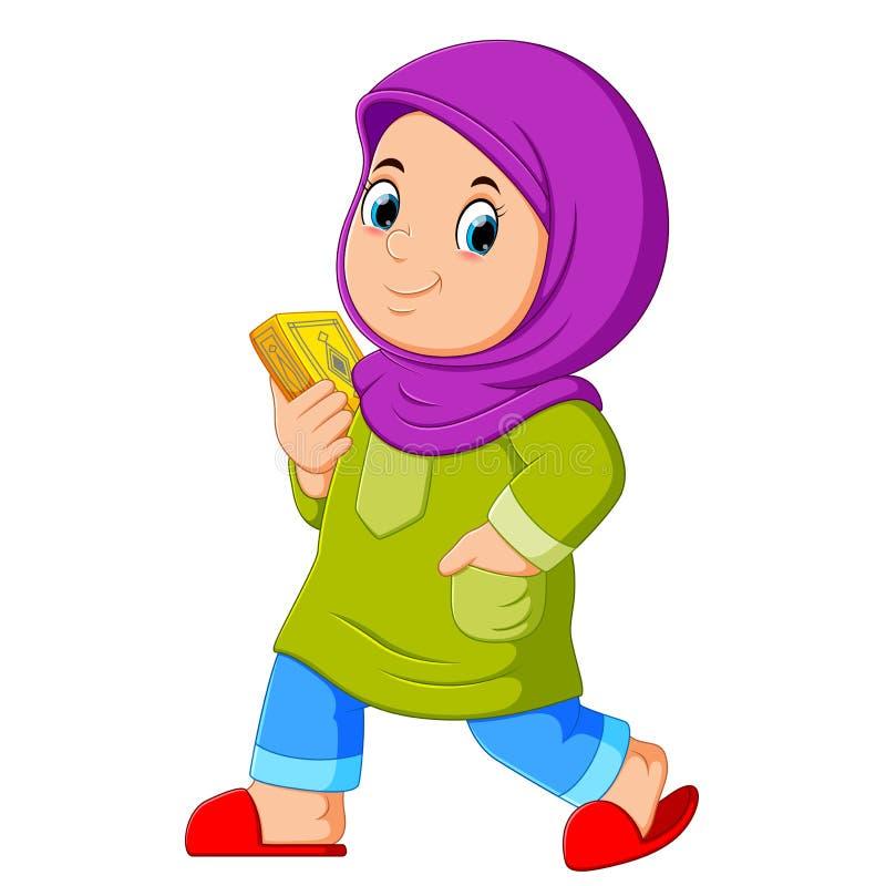 Muzułmański dziewczyny odprowadzenie i przewożenie święty koran ilustracji