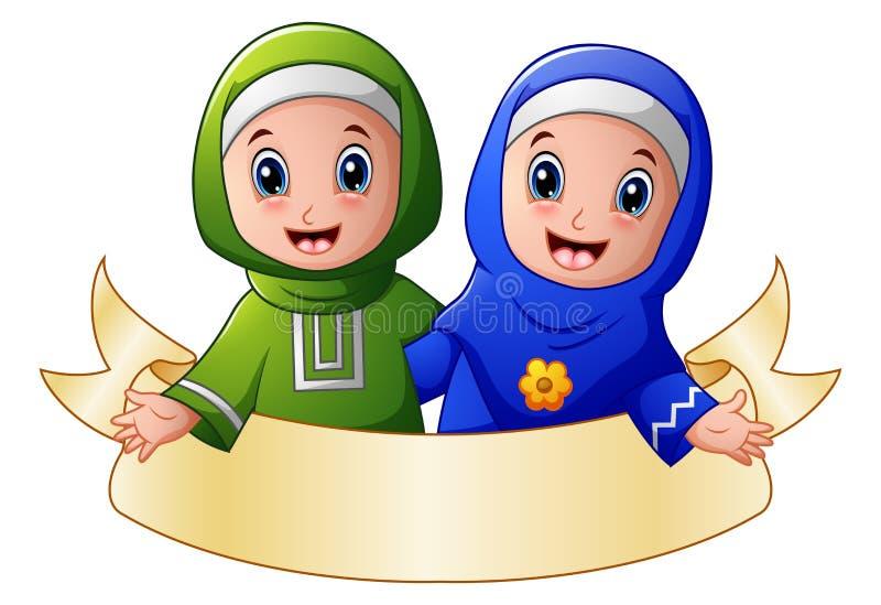 Muzułmański dziewczyny pary uścisk dla each inny przedstawia z puste miejsce znakiem ilustracji