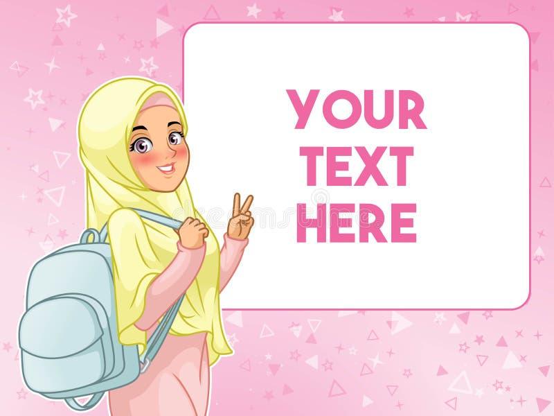 Muzułmański kobieta ucznia mienia rozochocony plecak royalty ilustracja