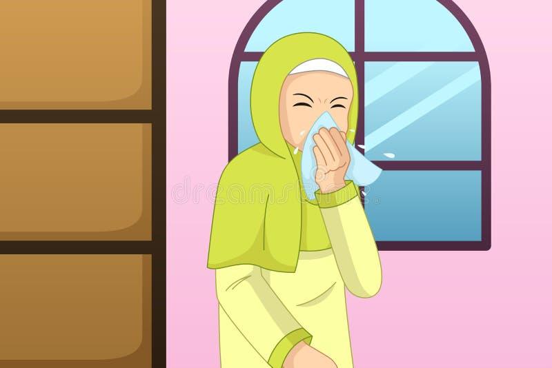 Muzułmański kobiety kichnięcie W Tkankową ilustrację ilustracja wektor