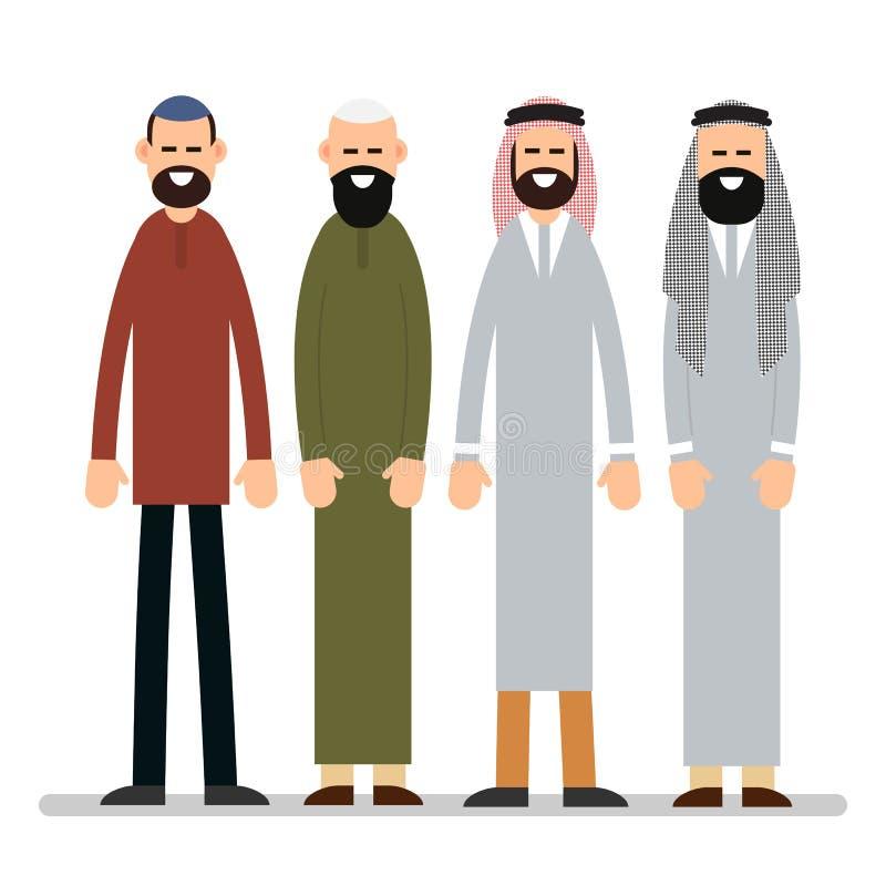 Muzułmański mężczyzna Grupowy muzułmanin lub Arabski mężczyzna stojak w tradycyjnym cl ilustracja wektor