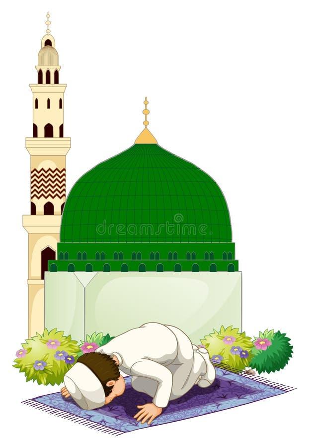 Muzułmański mężczyzna modlenie przy meczetem ilustracji