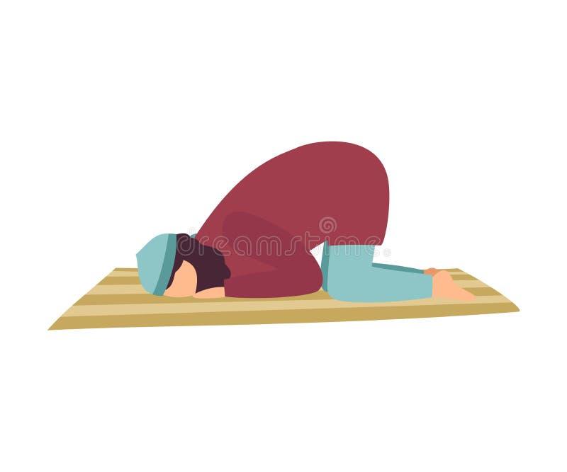 Muzułmański mężczyzny modlenie na Jego kolanach, mężczyzna Komunikuje z bogiem, Eid Al Adha Islamska Wakacyjna Wektorowa ilustrac royalty ilustracja