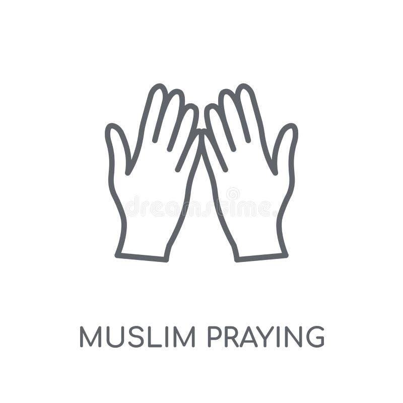 Muzułmański modlenie Wręcza liniową ikonę Nowożytnego konturu Muzułmański modlenie royalty ilustracja