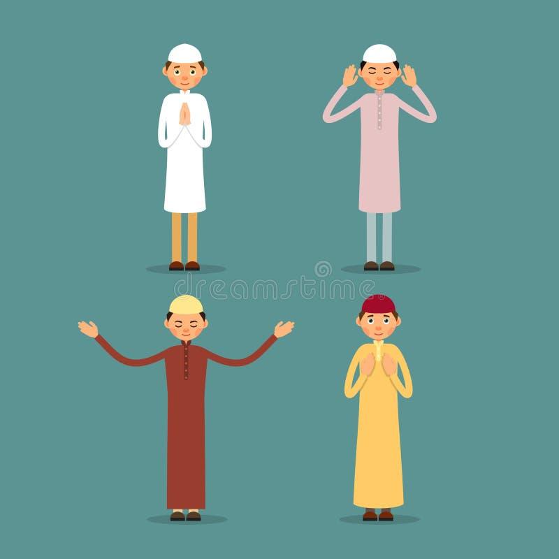 muzułmański modlitwa Ustawia mężczyzna stojaka, ono modli się i Perfo royalty ilustracja