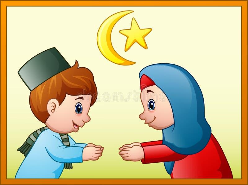 Muzułmański para dzieciak robi uściskowi dłoni przepraszać dla each inny ilustracji