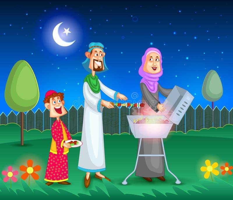 Muzułmański rodzinny robi grill ilustracja wektor