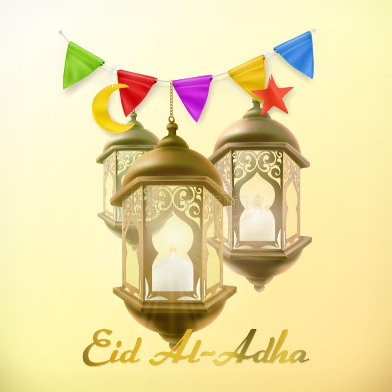 Muzułmański wakacyjny Eid al-Adha Kartka z pozdrowieniami z lampą Wektorowy tło royalty ilustracja