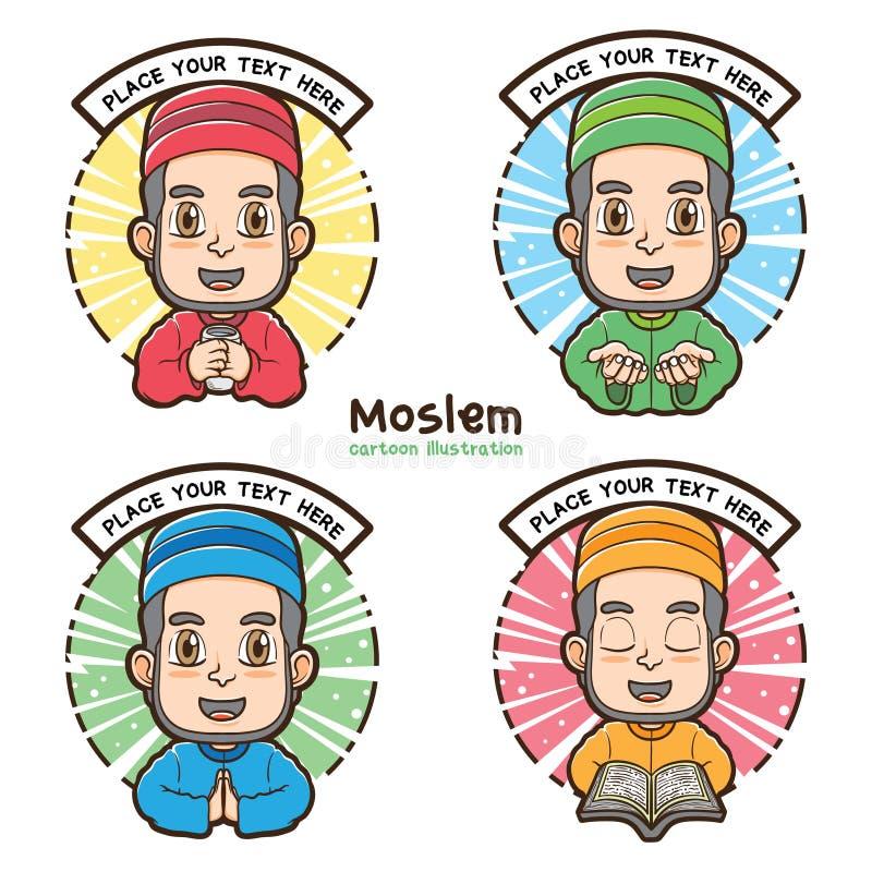 Muzułmańskie etykietki z kreskówki ilustracji stylem
