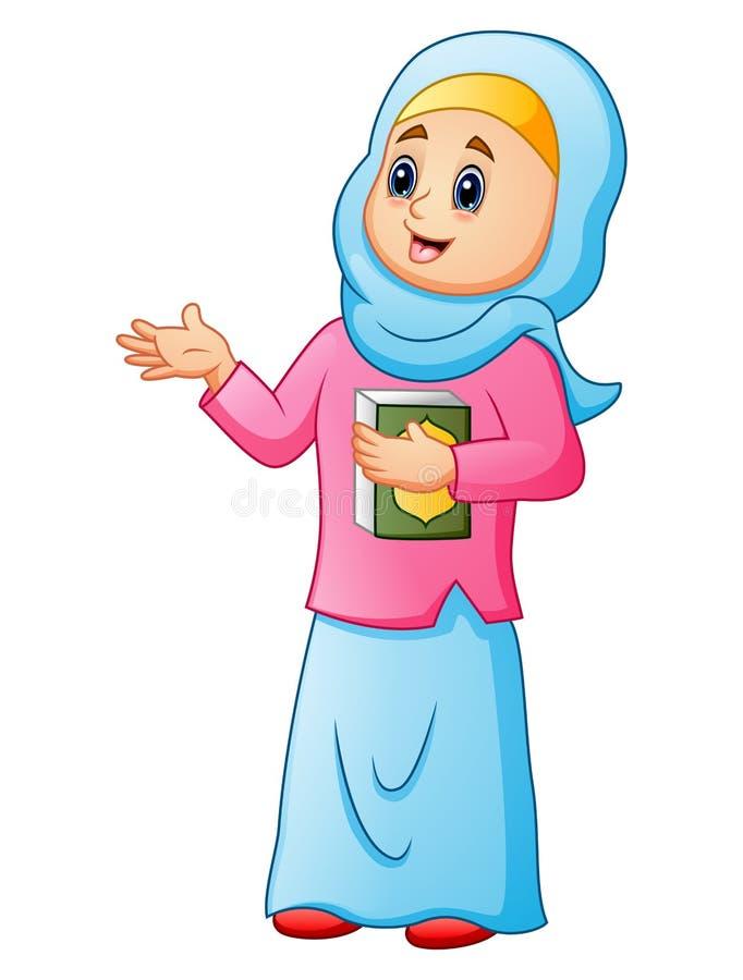 Muzułmańskie kobiety jest ubranym błękitną przesłonę z mienie koranu przedstawiać ilustracja wektor