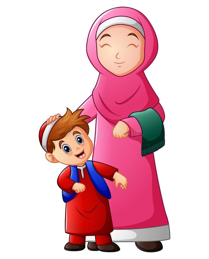Muzułmańskie kobiety trzymają jej syn głowę i przygotowywać iść meczet royalty ilustracja