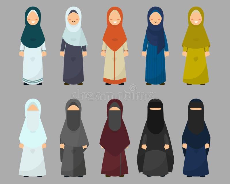 Muzułmańskie kobiety z różnorodnymi smokingowymi stylami ustawiają, hijab ikon wektoru ilustracja ilustracji