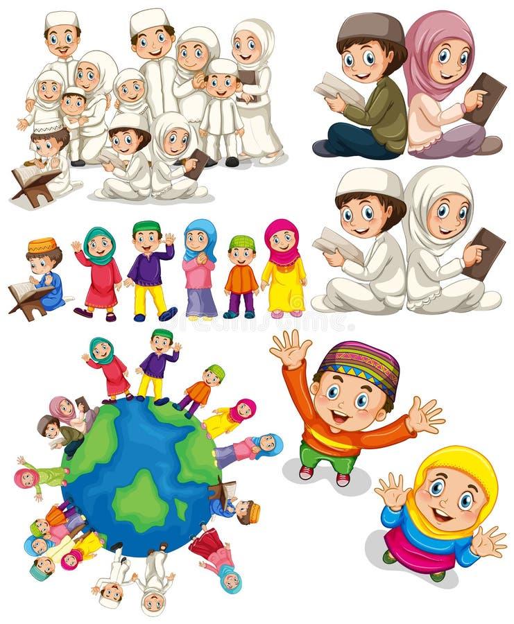 Muzułmańskie rodziny dookoła świata ilustracja wektor