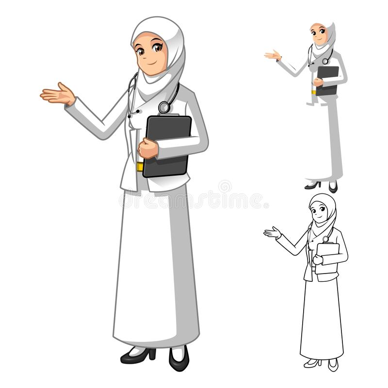 Muzułmańskiej kobiety Doktorska Jest ubranym Biała przesłona lub szalik z Witać ręki royalty ilustracja