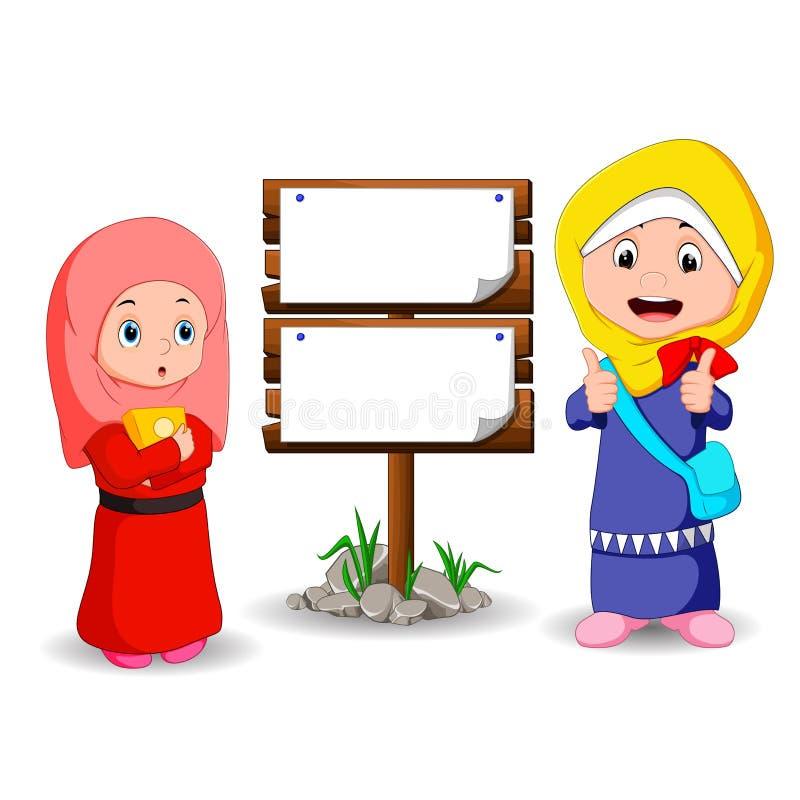 Muzułmanin żartuje kreskówkę z drewnianym znakiem ilustracji