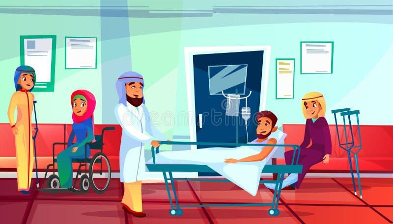 Muzułmanin lekarka i pacjenta wektoru ilustracja royalty ilustracja