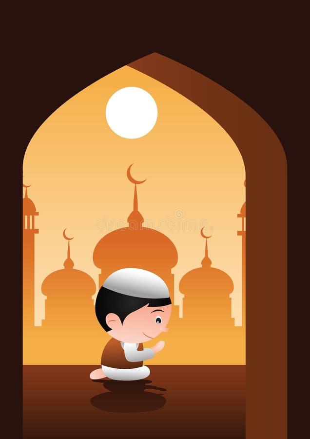 Muzułmanin ono modli się w meczetowym miejscu islam, sylwetka projekt, kreskówka bąbla głowy wersja royalty ilustracja