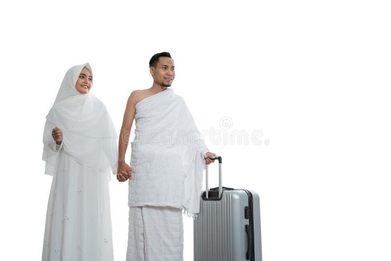 Muzułmanin pary żona i mąż gotowi dla hadża fotografia royalty free