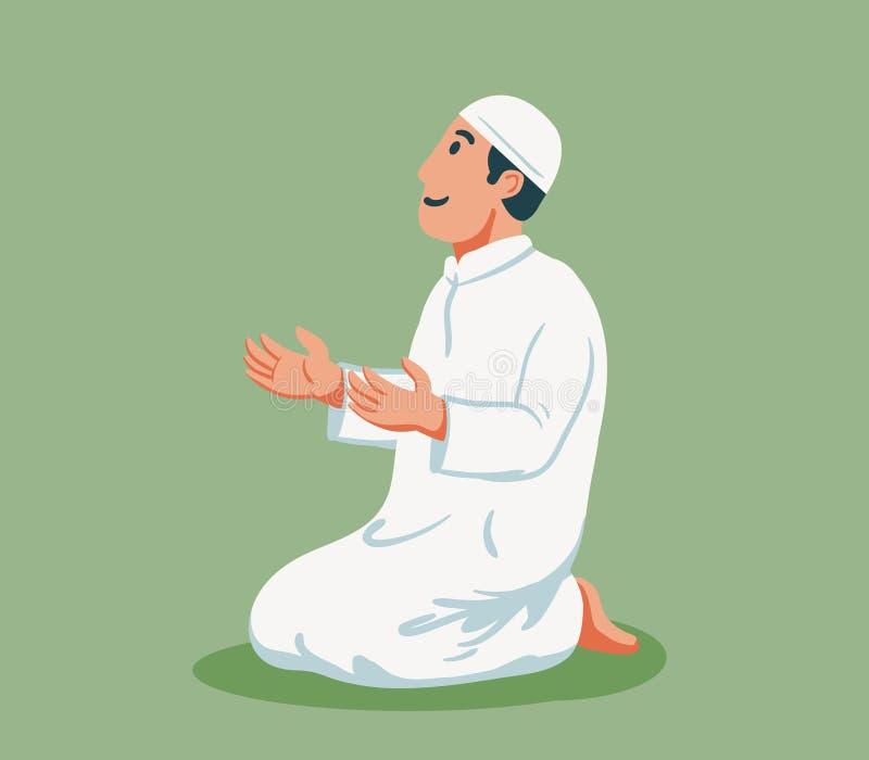 Muzułmanin Siedzi I ono Modli się royalty ilustracja
